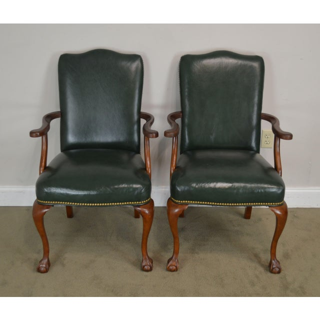 Chippendale South Mark Green Leather Chippendale Style Ball & Claw Pair Armchairs (A) For Sale - Image 3 of 12