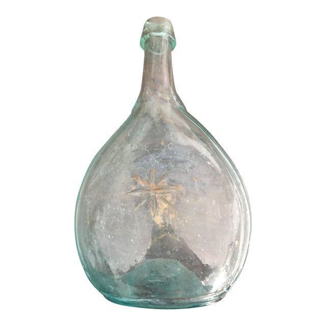 Bottle Pontil Sheaf Wheat Star Calabash Oval Glass Flask For Sale
