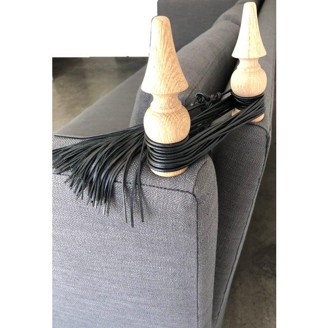 Foundation Shop Modern Knole Style White Oak & Leather Tassels Sofa For Sale - Image 4 of 7