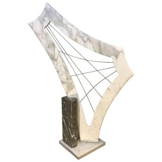 1980s Modern Abstract Marble Harp Form Sculpture For Sale