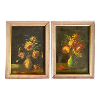 Old Oil on Canvas Floral Still Life Paintings, a Pair For Sale