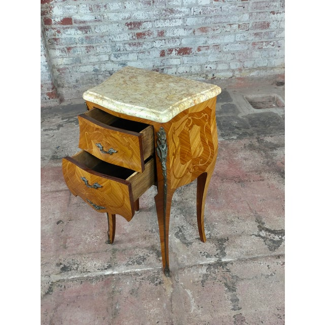 French 19th Century Marquetry Petit Commodes- a Pair For Sale - Image 4 of 10