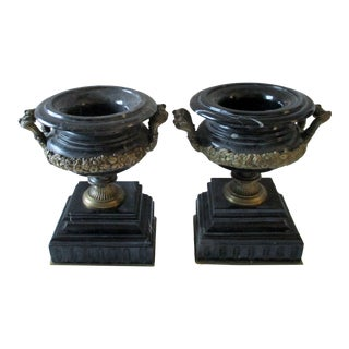 1940s Black Portoro Marble and Bronze Filigree Handled Tazzas Urns - a Pair For Sale