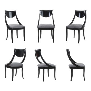 Klismos Dining Chairs Pietro Constantini Ello Black Lacquer Unmarked 1970s a Set of Six For Sale