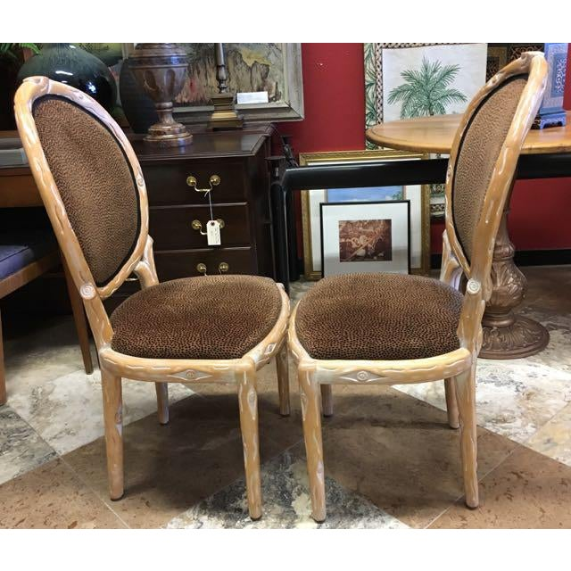 Wood Boho Chic Faux Bois Brown Velvet Side Chairs - Set of 4 For Sale - Image 7 of 12