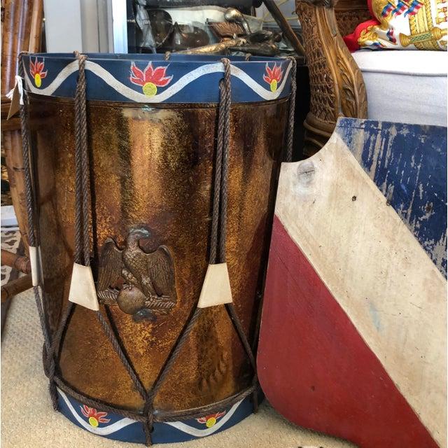 Blue Vintage Military Eagle Tole Drum Side Table For Sale - Image 8 of 11