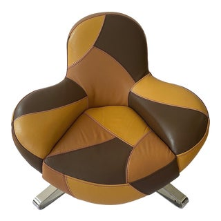 1970s Italian Leather Lounge Chair For Sale