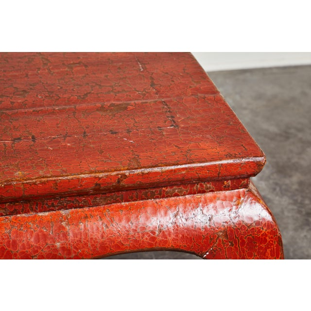 19th C. Red Crackle Lacquer Kang Table For Sale In Los Angeles - Image 6 of 8