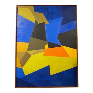 Large Vintage Blue Yellow & Black Sharp Edge Abstract Oil Painting C.1970s For Sale