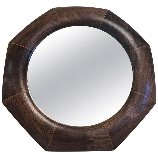 Early 21st Century Custom Solid Walnut Octagonal Mirror For Sale - Image 5 of 5