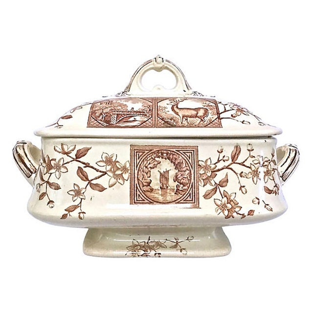 Antique Floral & Scenic Transferware Tureen For Sale - Image 12 of 12
