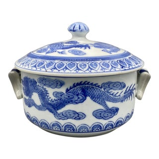 20th Century Chinoiserie Blue and White Dragon Covered Dish/ Serving Bowl For Sale