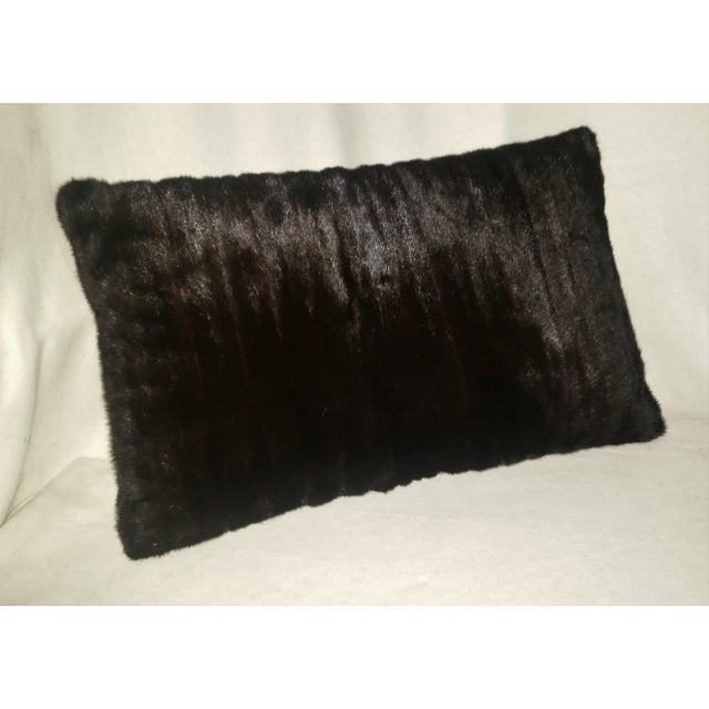 Contemporary Dark Brown Almost Black Mink Pillows - a Pair For Sale - Image 4 of 7