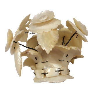 Victorian Carved Mother of Pearl Basket of Flowers Sculpture For Sale
