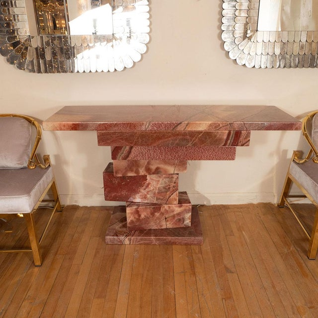 Stacked marble slab console table. Made in tte 1960s. Mid-century modern-esque.