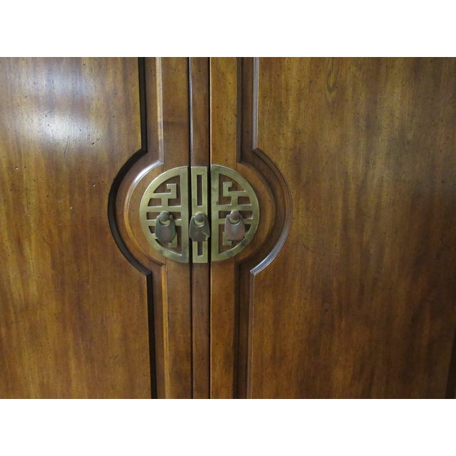 Century Furniture Asian Campaign Style Armoire Chest With Brass Accents For Sale In Raleigh - Image 6 of 11