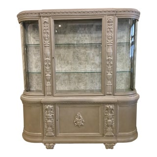 Painted Curved Glass & Wood Display Cabinet For Sale