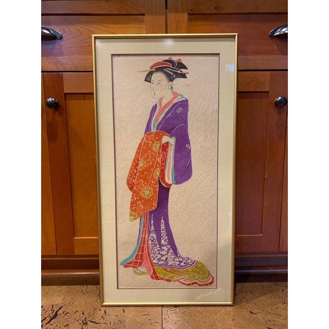 Glass 1960s Vintage Portrait of a Woman Framed Print For Sale - Image 7 of 7