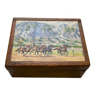 Vintage Horse Derby Style Hinged Worm Wood Box For Sale