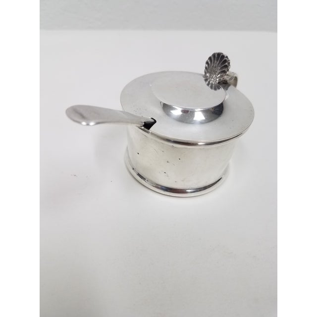 Antique Silverplate Mustard Pot With Spoon - 2 Pieces For Sale - Image 4 of 13
