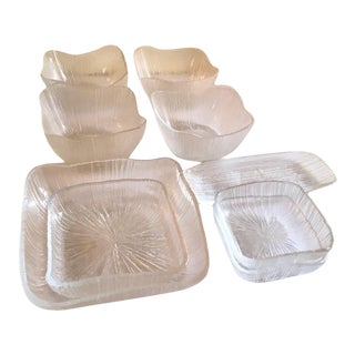 Vintage Abstract Linear Striated Textured Art Glass Salad Set - 9 Piece Set For Sale