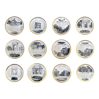 Midcentury Piero Fornasetti Specialità Milanese Set of Twelve Porcelain Plates, 1960-70. For Sale