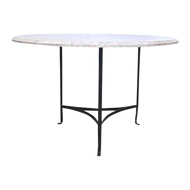 20th Century Contemporary Round Travertine & Iron Dining Table For Sale