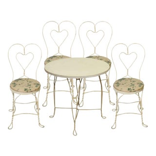 White Iron Floral Patio Table & Chairs - Set of 5 For Sale