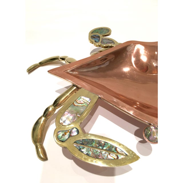 1960's Mexican Copper Abalone & Brass Crab Dish - Image 6 of 7