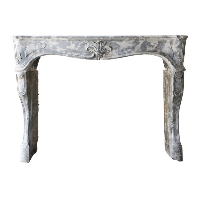 Antique Gray Marble Stone Fireplace, 19th Century, Louis XV For Sale