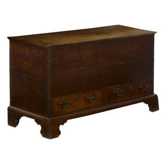 18th Century English George III Antique Oak Blanket Chest Over Two Drawers For Sale