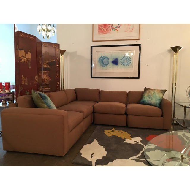 Mid Century Modern Milo Baughman for Thayer Coggin 5 Piece Sectional Sofa in New Knoll Upholstery - Image 2 of 7