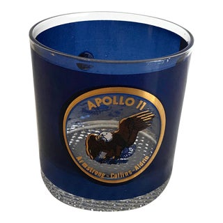 Vintage Mid Century Commemorative Apollo 11 Lowball Glass For Sale