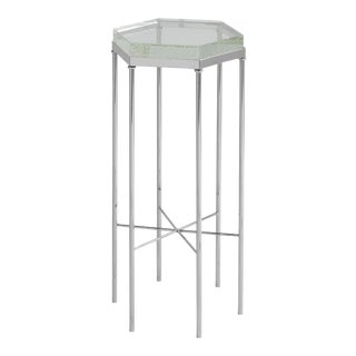 Modern Stewart Chair Side Table, Silver For Sale