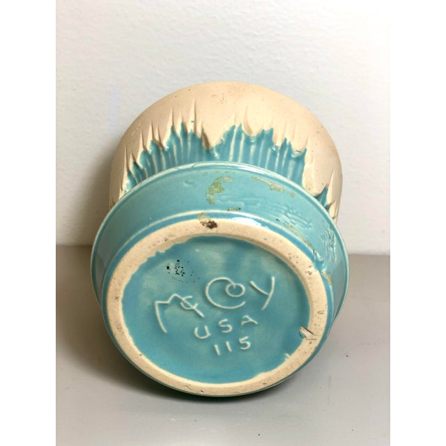 """1940s - 1960s Mid-Century McCoy Pottery Small """"Teal Blue"""" Flowerpot and Saucer For Sale - Image 4 of 5"""