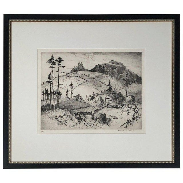 """""""Mountain Farms Near Spruce Pine, North Carolina"""" Etching by Harrison Cady For Sale - Image 13 of 13"""