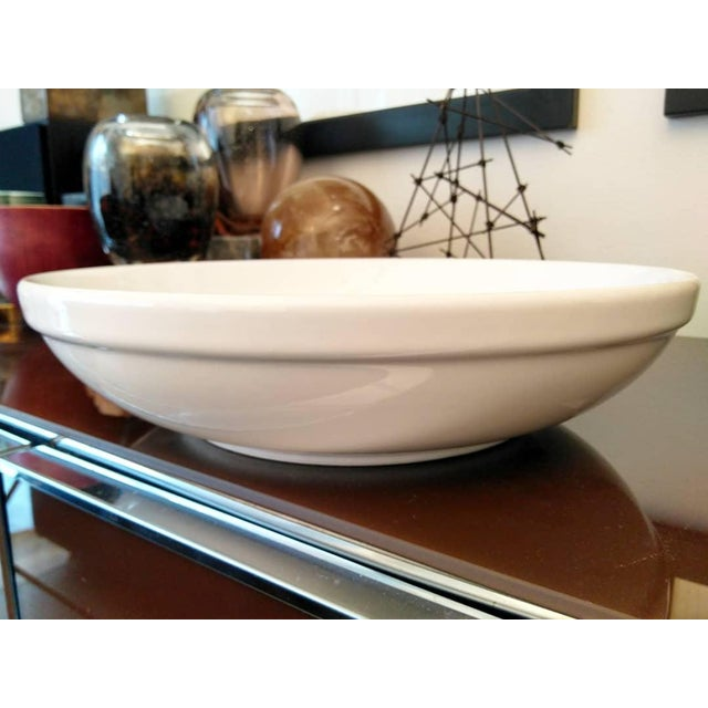 Dansk Extra Large Glazed Ceramic Glossy White Shallow Serving Bowl For Sale - Image 4 of 8
