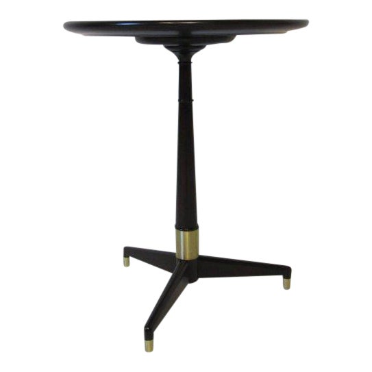 Ebony Finished with Brass Tri Pod Based Midcentury Side Table For Sale