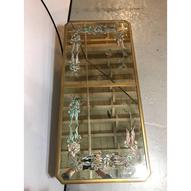 Glass Hollywood Regency Italian Paint Decorated Sliding Mirror Top Coffee Low Table For Sale - Image 7 of 11