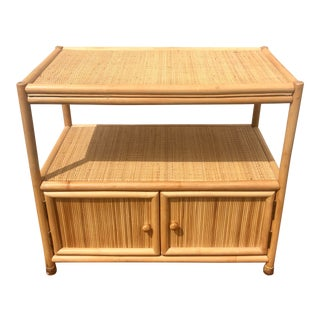 1960's Vintage Natural Woven Bamboo Rattan Bar Cart For Sale