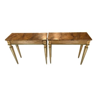 1960s Vintage Florentine Neo Classical Style Console End Tables - A Pair For Sale