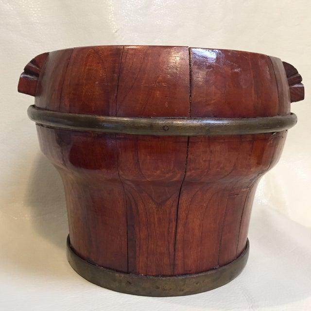 Wood Asian Grain Bucket W/ Lid For Sale - Image 7 of 9