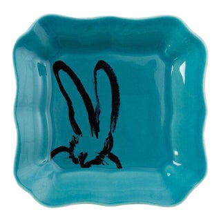 Teal Bunny Portrait Plate, Hunt Slonem For Sale