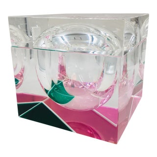 Italian Neon Pink and Green Lucite Ice Bucket by Alessandro Albrizzi For Sale
