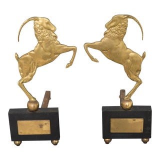 Art Deco Brass and Iron Ram Andirons - a Pair For Sale