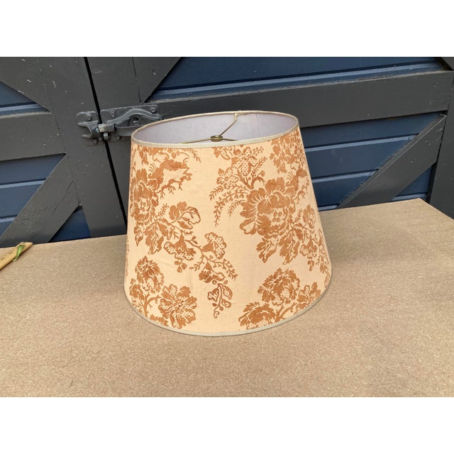 """A lampshade handmade from vintage Brunchwig & Fils printed cotton. Measurements: top 11"""" bottom 16""""side 11"""""""