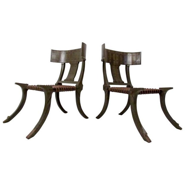 Brown Pair of Mid-Century Snake Skin Klismos Chairs After Robsjohn-Gibbings For Sale - Image 8 of 8