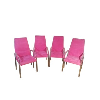 Vintage Mid Century Tri-Mark Tulip Pink and Lucite High Back Chairs- Set of 4 For Sale