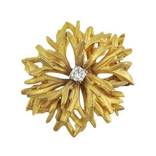 Vintage 18k Gold and Diamond Designer Flower Form Brooch For Sale