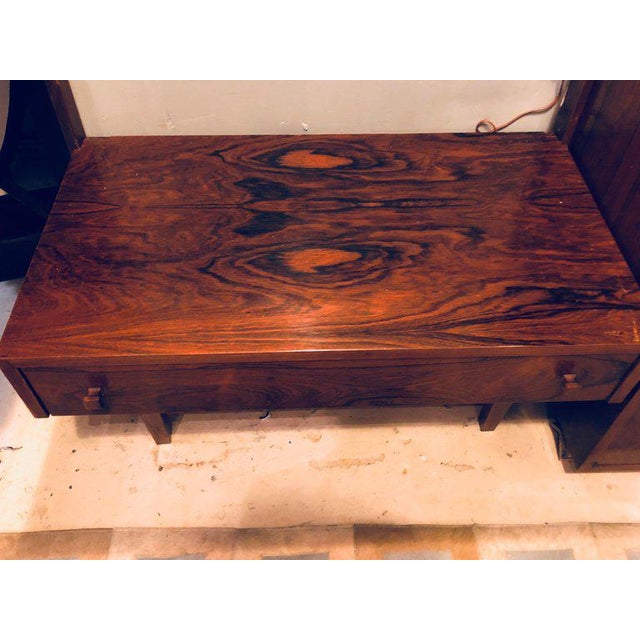 Midentury Rosewood Wall-Unit Including Table, Desk, Curio Cabinet and Light For Sale - Image 10 of 13